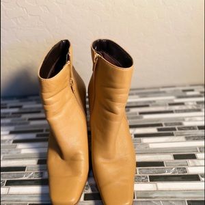 Wt. Mountain  yellow ankle boots with wood heels